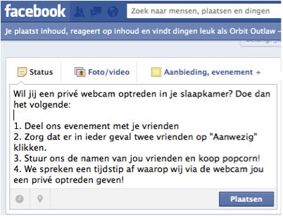 Facebook bericht sturen