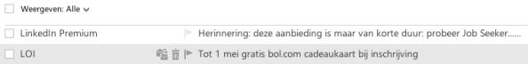 Tijdsgebonden onderwerp e-mail